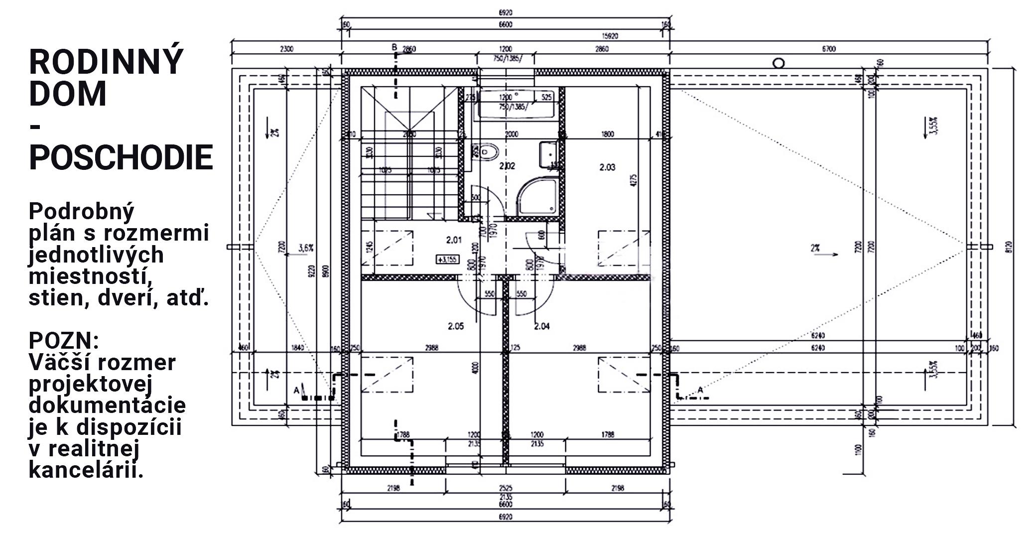 Samostatne stojaci dom - pôdorys (poschodie)